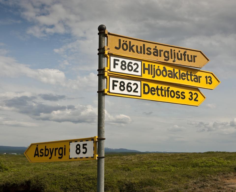 Free road sign Asbyrgi