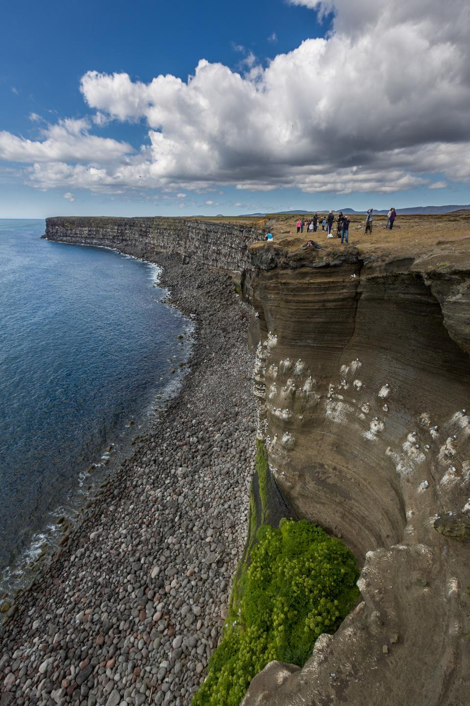 Free rocky cliff overlooking the sea in Vik in Iceland