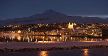 Free Night Town scape of Iceland