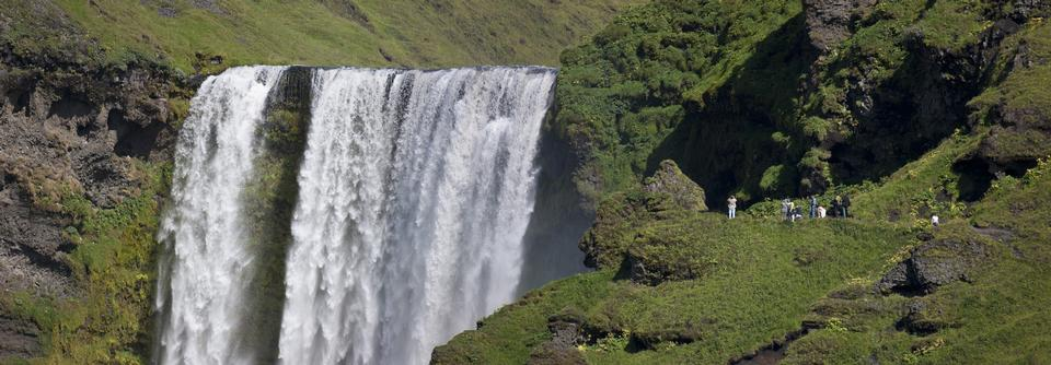Free famous waterfall Skogafoss in Iceland