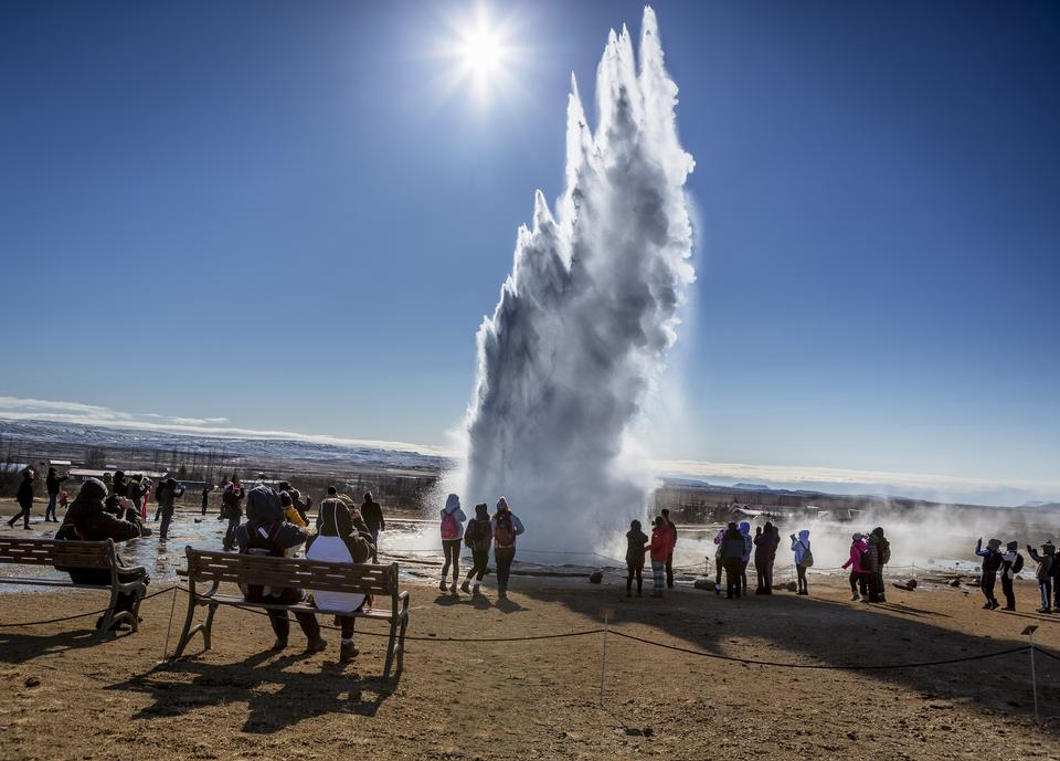 Free Geyser Strokkur eruption in the Geysir area Iceland
