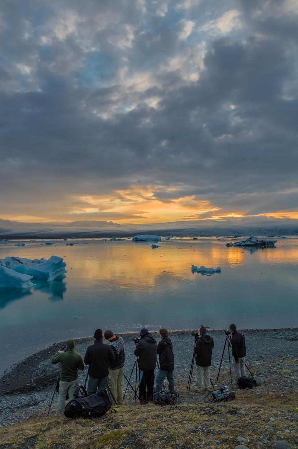Free The sun sets over the famous glacier lagoon