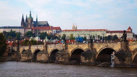 Free Castle and Charles Bridge in Prague Czech Republic