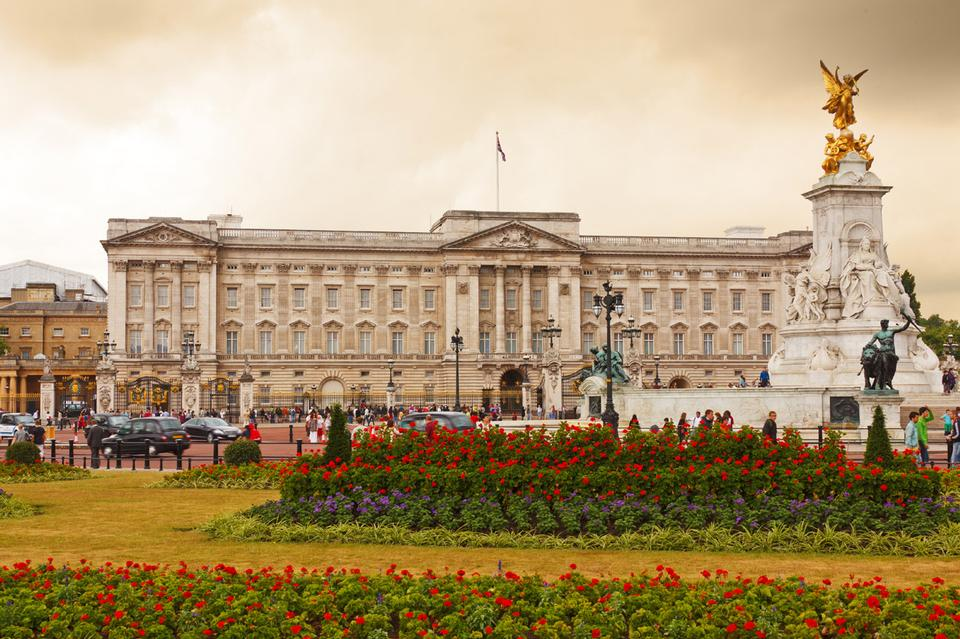 Free Buckingham Palace with flowers in the foreground