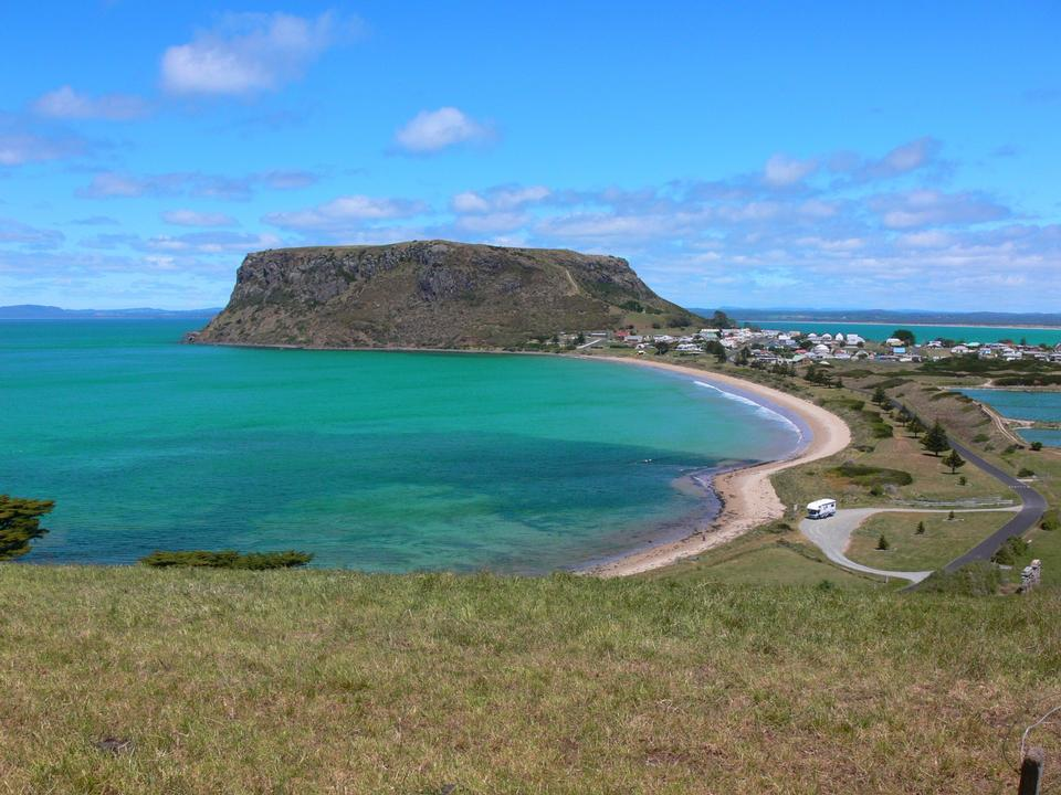 Free Headland Over Tropical Bay in Tasmania