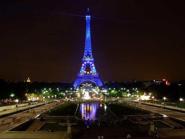 Free paris france sky night evening lights lighting