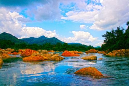 Free landscape with mountains trees and a river in front