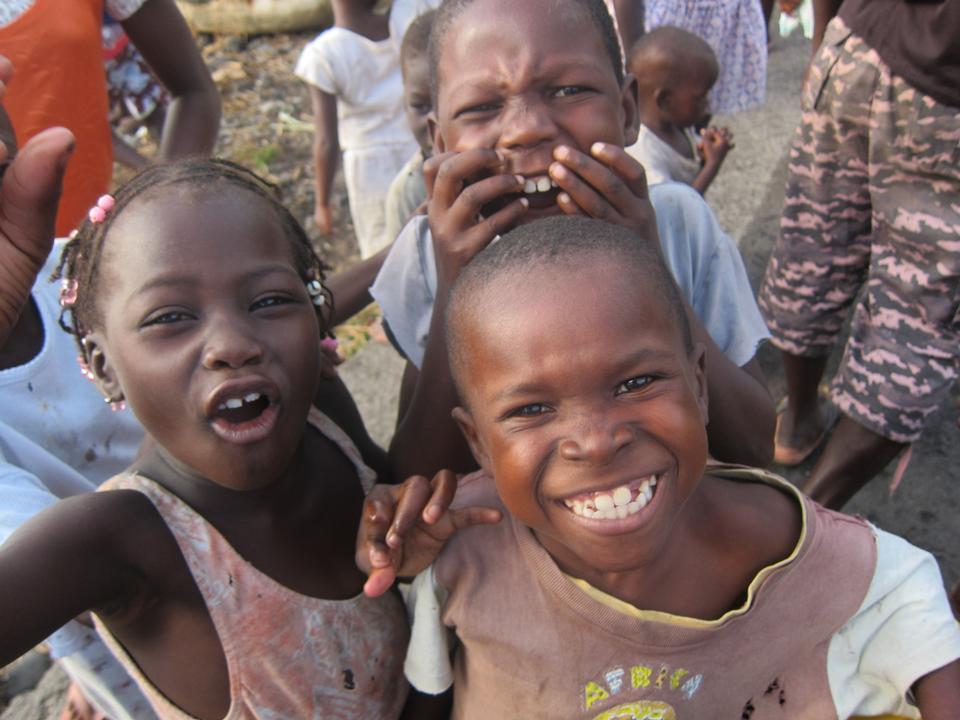Free Children in Sao Tomean Fishing Village Africa