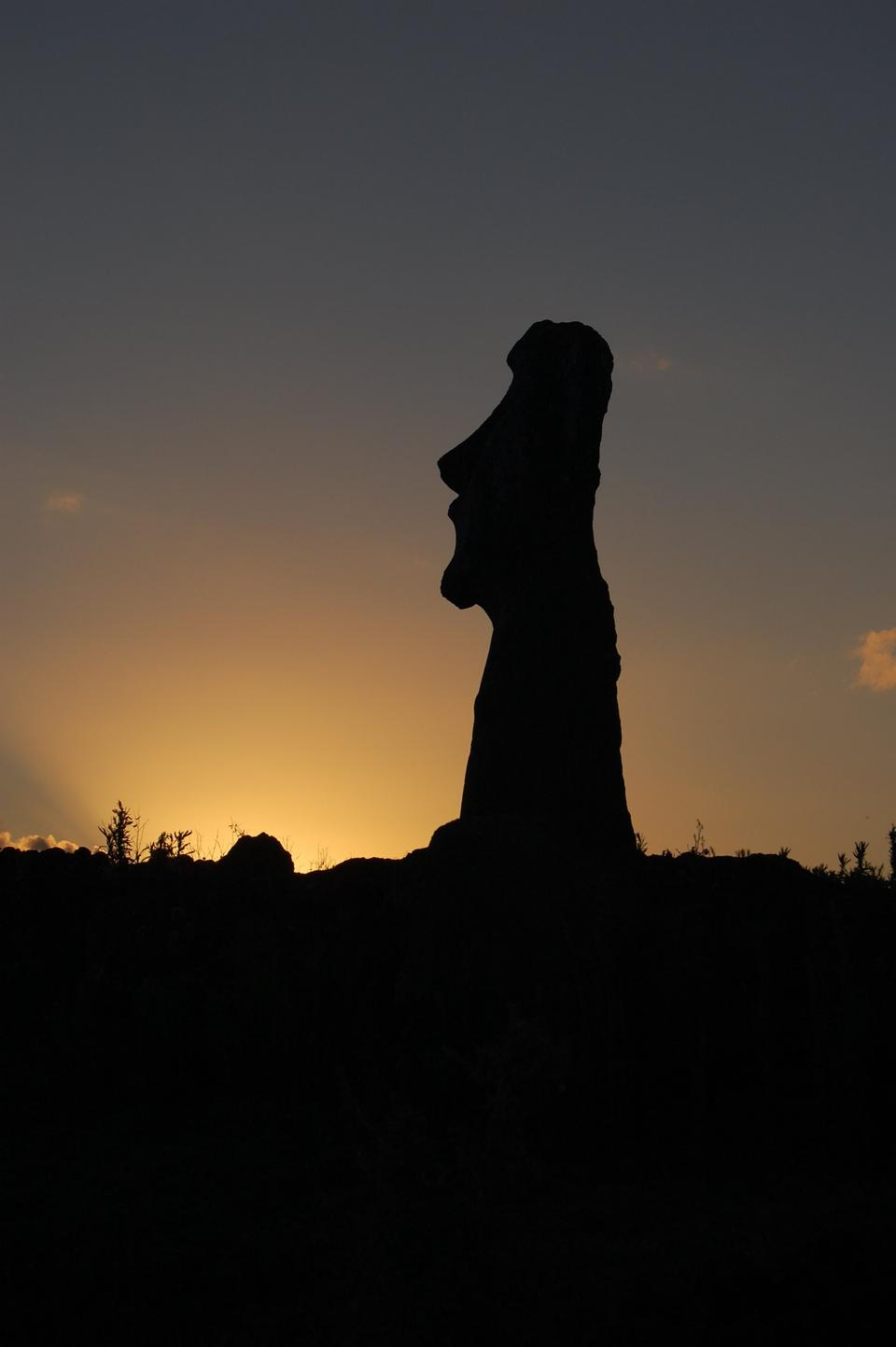 Free sunsets on the rocky shores of Easter Island Chile