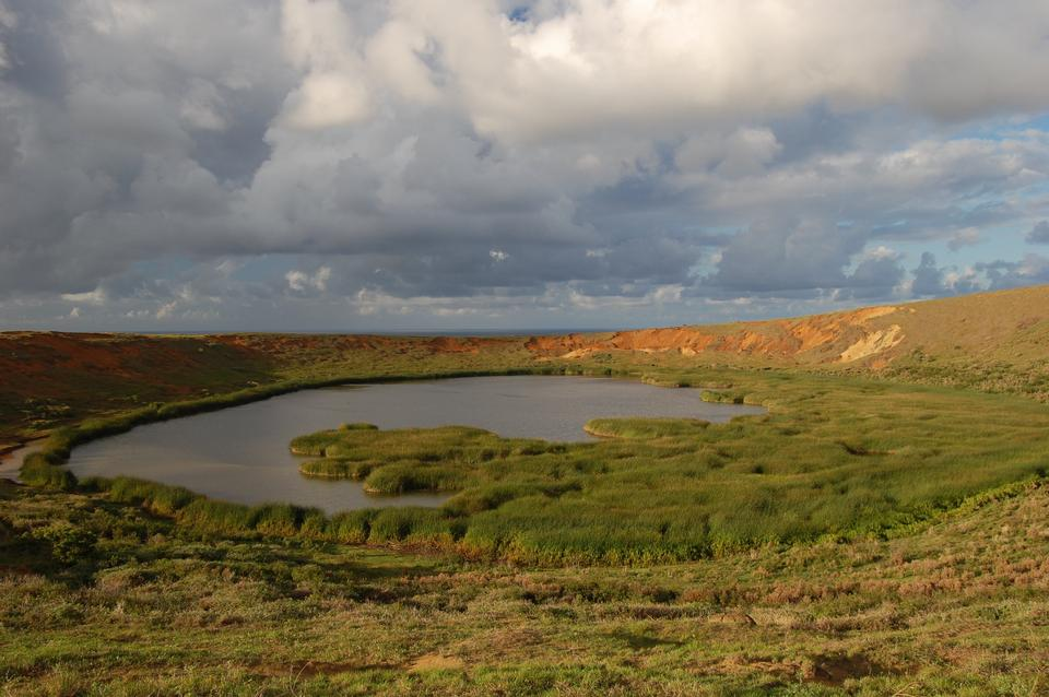 Free A crater lake and marshland in a volcanic cone