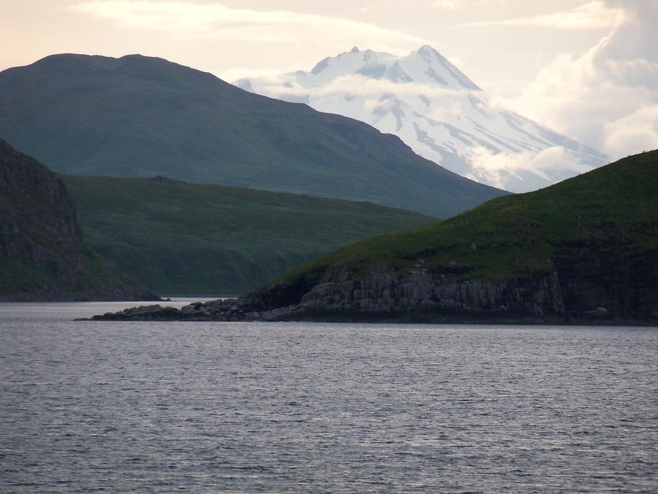 Free Mount Dutton seen to the west from the Pavlof Islands