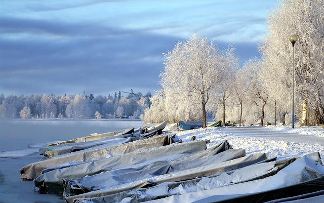 Free finland landscape river boats frozen water forest