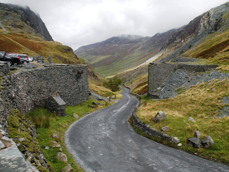Free Road next to Honister Pass slate mine