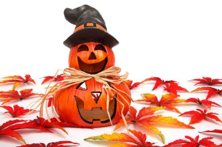 Free halloween decoration with leaves
