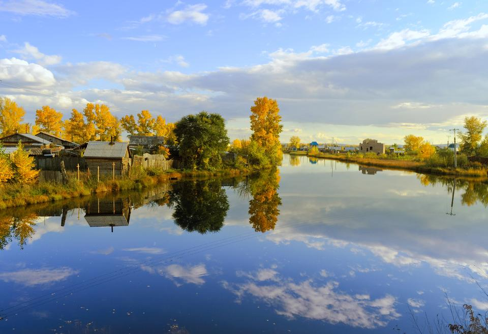 Free Trees and sky reflected in calm water. Autumn landscape
