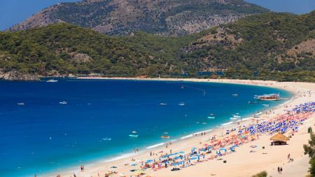 Free Beach in Oludeniz in Turkey in summer