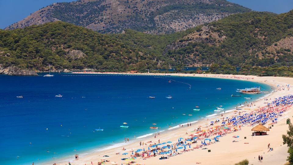 Free Beach in Oludeniz in Turkey in summer
