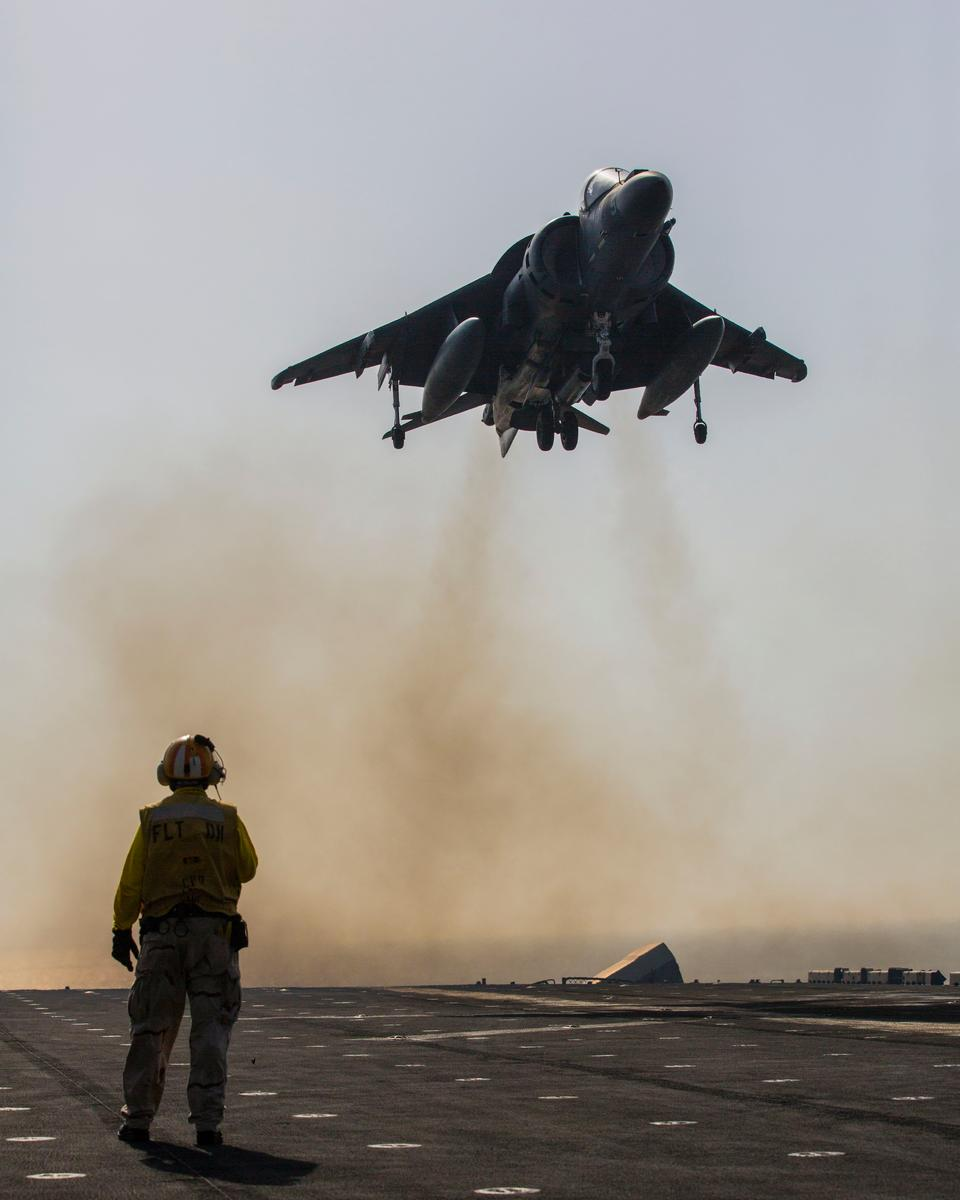 Free AV-8B Harrier lands on the flight deck