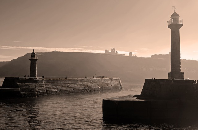 Free whitby lighthouses sea background holidays sepia