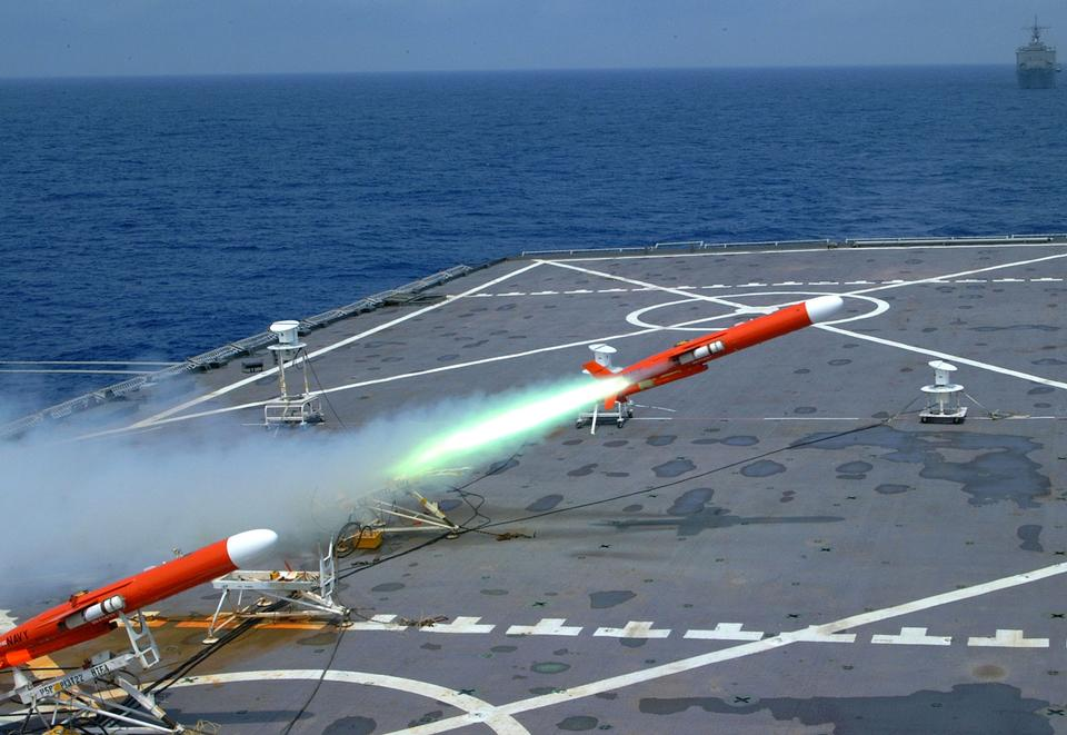 Free BQM-74E target drone is launched from the flight deck