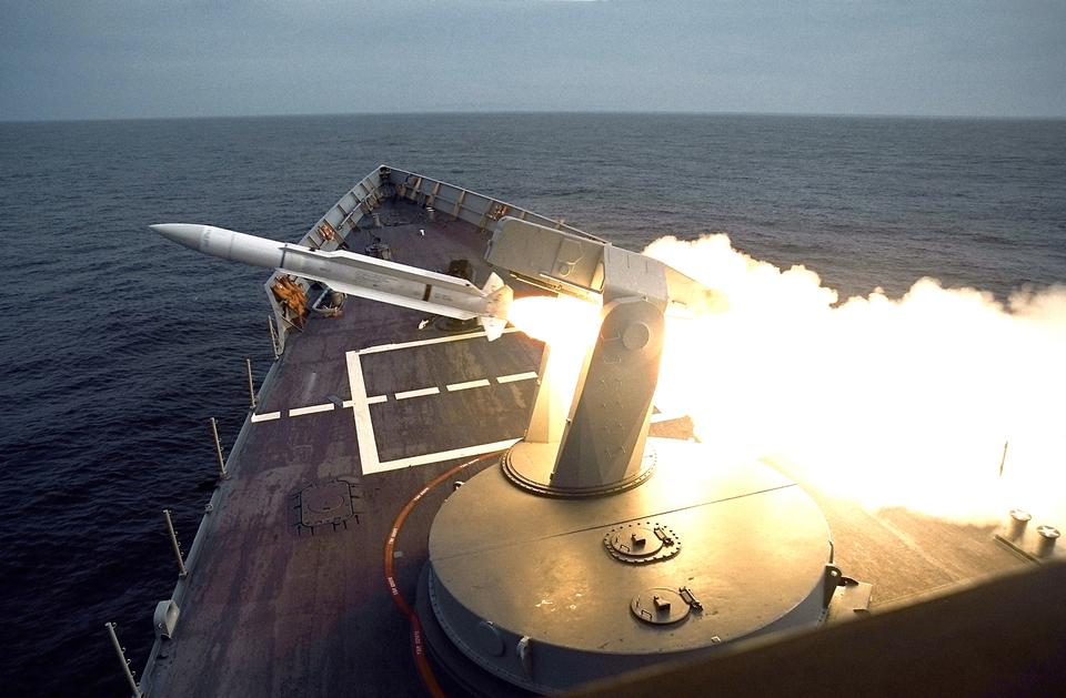 Free SM-1 surface-to-air missile is launched from the ships