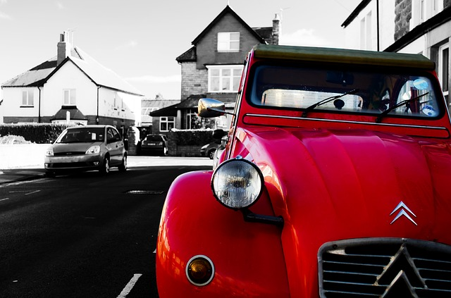 Free red car color street citroen old wallpaper