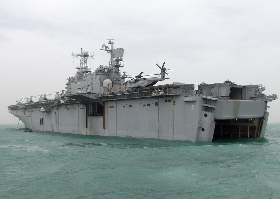 Free USS Peleliu anchors for welldeck operations