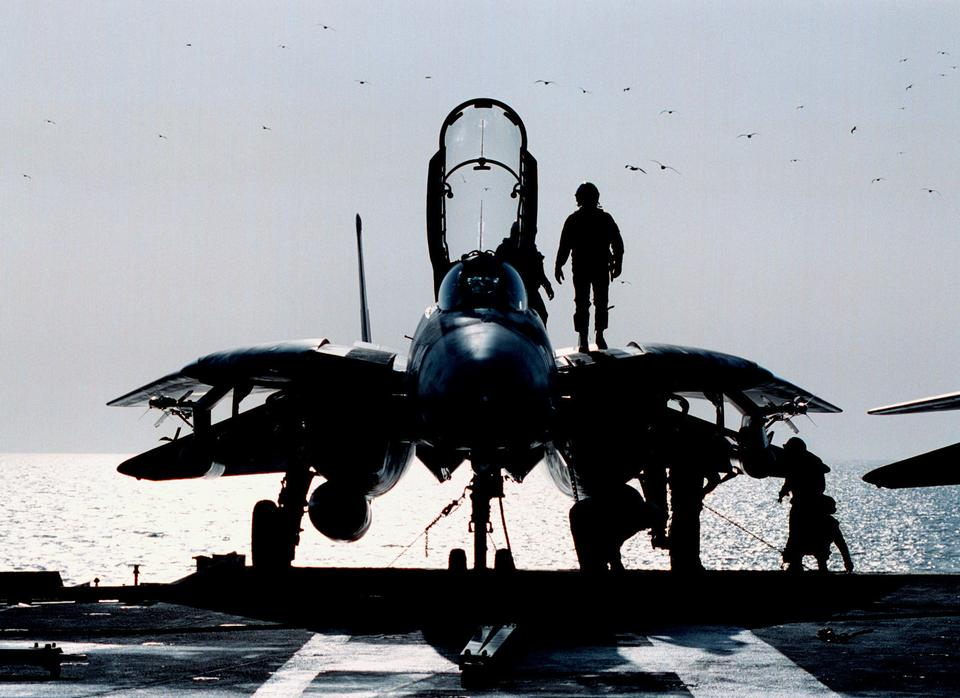 Free F-14B Tomcat a pre flight inspection on the flight deck