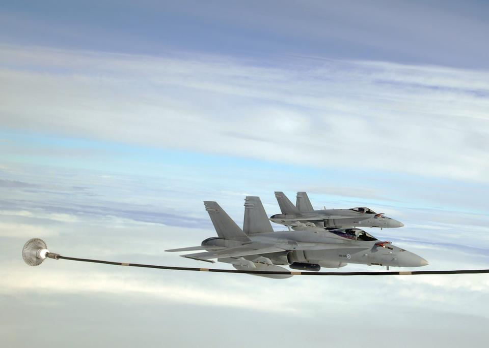 Free Air Force F-18C Hornets prepare to Refuel