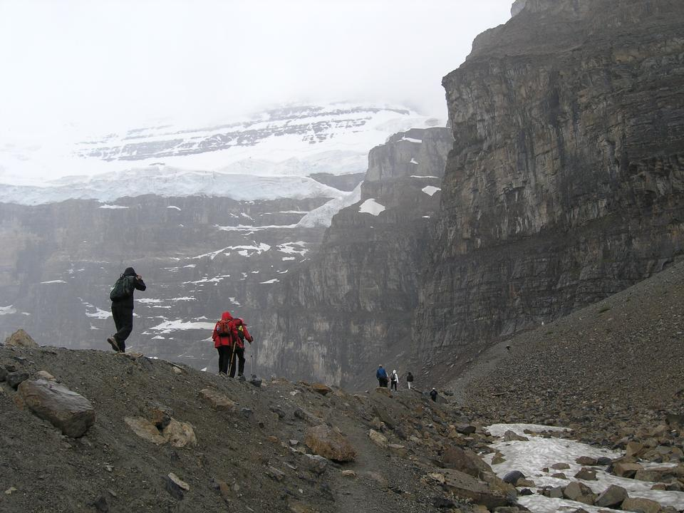 Free Hikers on the Plain of Six Glaciers trail in Banff National Park