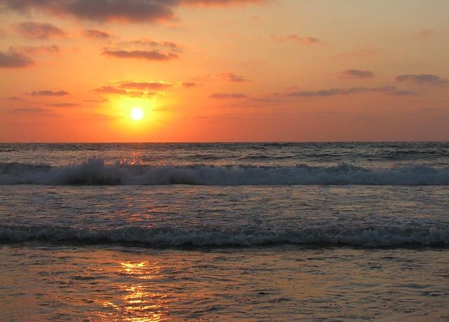 Free sunset beach ocean water