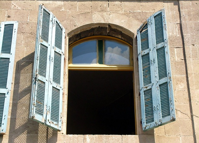 Free blue open shutters window