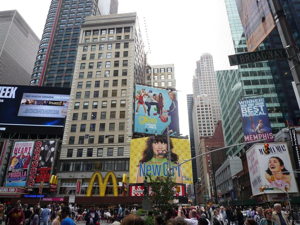 Free Film and Broadway show billboards at Times Square