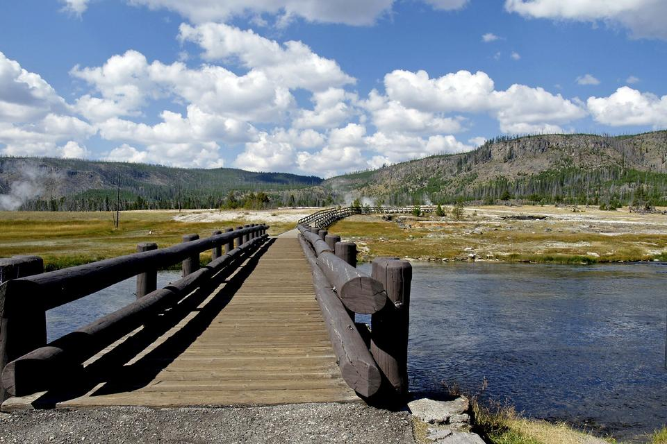 Free Wooden Bridge Yellowstone River Wyoming
