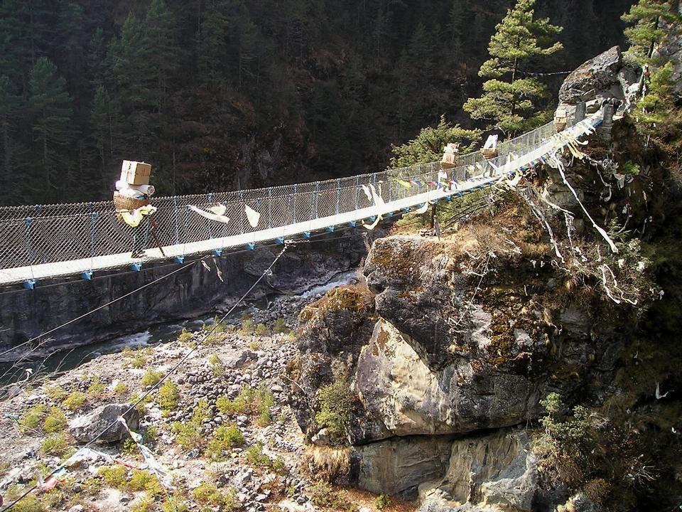 Free Himalayas Everest Trek Suspension Bridge