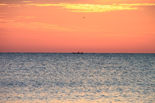 Free boat dark fisherman fishing red sea sunrise