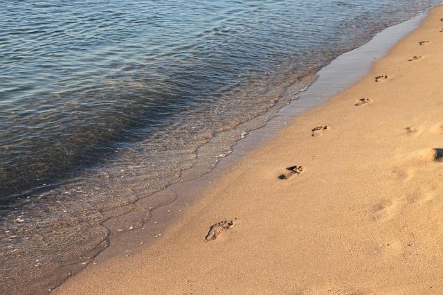 Free beach footprints mamaia sand sea water waves wet