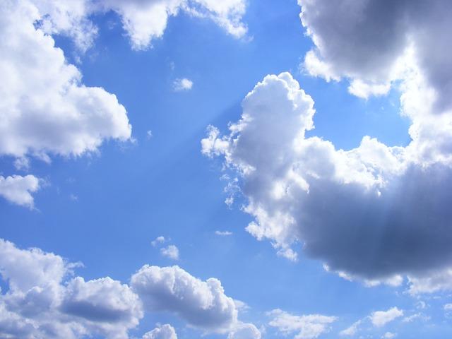 Free cloud cloudscape fluffy glowing rays sun sunbeam