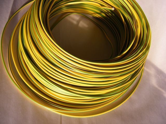 Free blue cable copper electrical green yellow