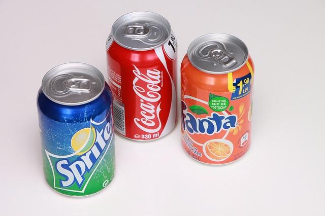 Free aluminum can coca cola drink fanta lemon orange