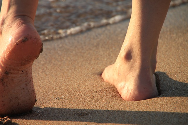 Free barefoot beach girl legs sand sea sunrise