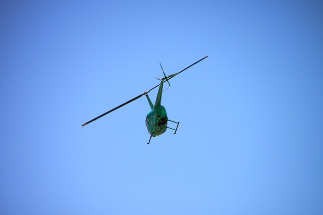 Free blue flying helicopter sky transportation