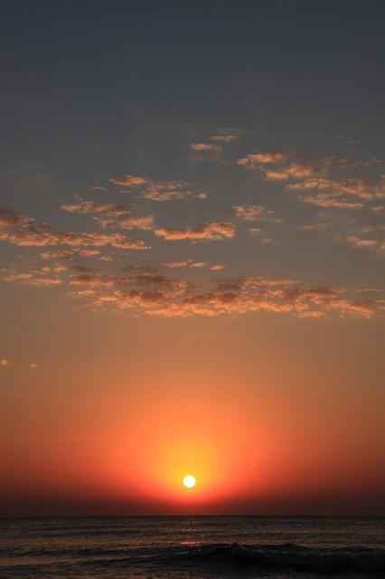 Free black dark landscape morning orange red sea sun