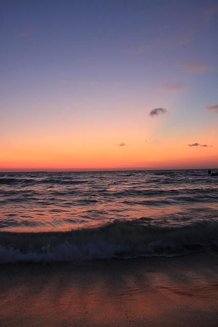 Free beach before blue morning reflection sea sunrise