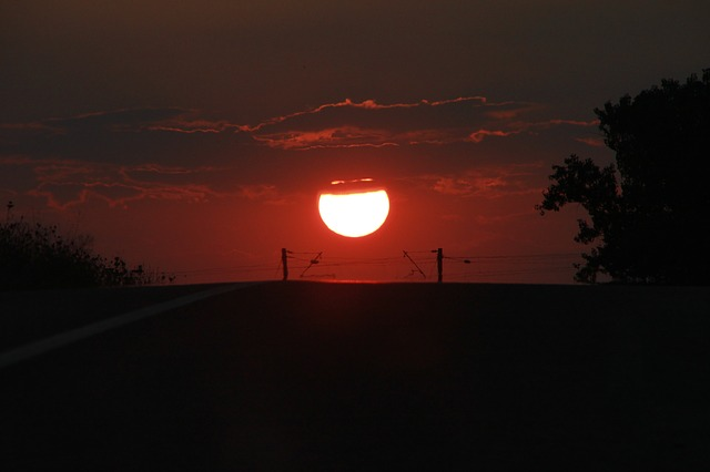 Free down melting orange red road sun sunset nature