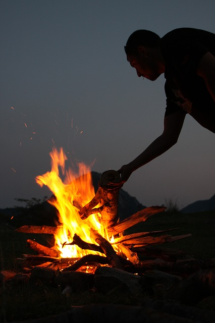 Free campfire fire hot night people recreation