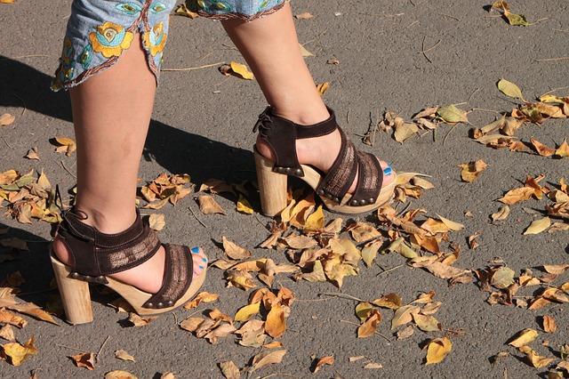 Free heels high hot leaves park sexy walking woman