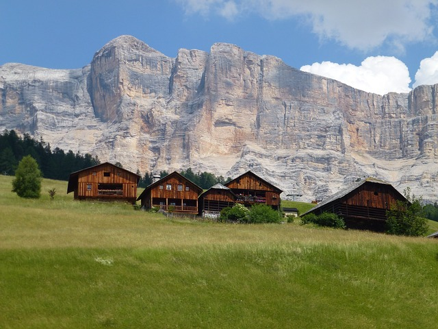 Free dolomites italy landscape mountains sky clouds