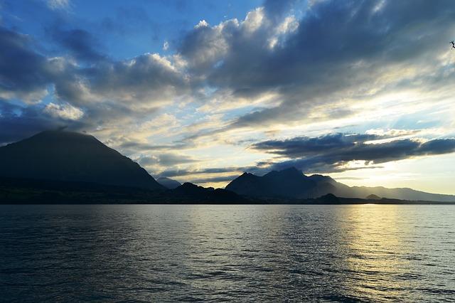 Free sunset lake switzerland nature clouds sky