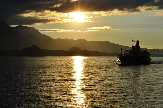 Free sunset boat switzerland lake water landscape